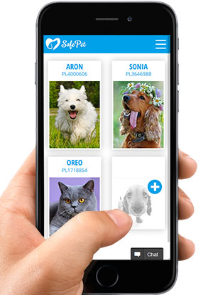 SafePetOnline - pets list view on a mobile phone